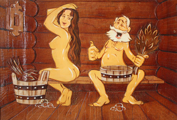 Сказочная композиция в бане, сауне