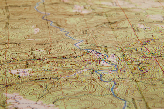 Topographic map with river