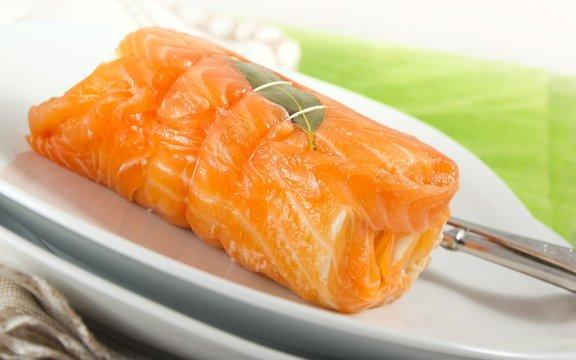 Farci saumon et noix de St-Jacques.