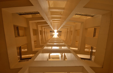 Abstract tunnel perspective of building interior