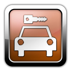 "Bronze Glossy Square Icon ""Car Rental"""
