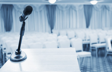 Сonference room with microphone on the table