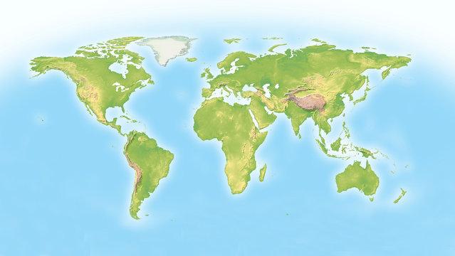 World map with horizon