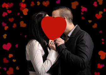 young couple celebrating valentine