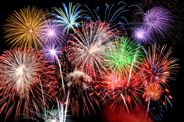 Fireworks of various colors