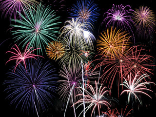 Fireworks of multiple colors