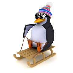 3d Penguin on his toboggan