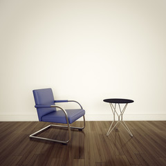 empty room chair on white wall
