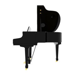 Real black grand piano isolated on white