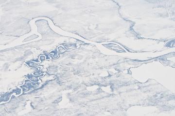 Aerial Siberia River Sakha Republic Verkhoyansk Mountains Frozen