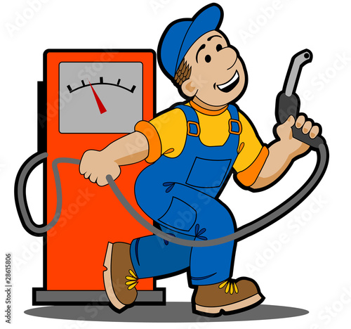 Quot Gas Station Worker Refueling Car Cartoon Quot Stock Image