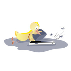 Duckling with telephone
