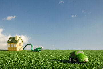 Electric car and toy house.