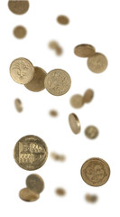 pound coins falling