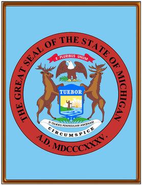 USA state michigan seal emblem coat