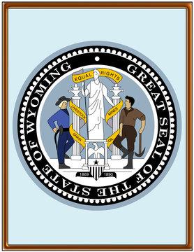 USA state wyoming seal emblem coat