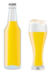 Beer in glass and transparent bottle of beer