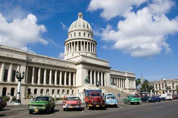 Garden Poster Cars from Cuba Capitolio, Havana, Cuba