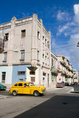 Havana street with yellow car