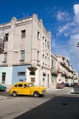 Garden Poster Cars from Cuba Havana street with yellow car