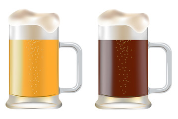 two mug of beer