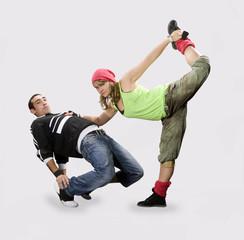 Teenagers dancing breakdance in action
