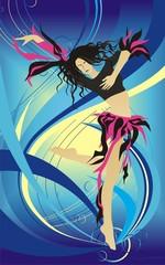 Vector background illustration the dancing girl