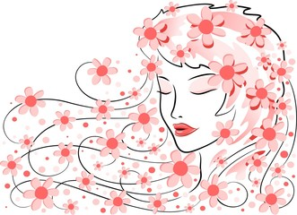 Recess Fitting Floral woman Viso di Donna con Fiori-Girl's Face with Flowers-Vector