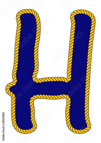 Navy Sailor Style Rope Alphabet Letter H