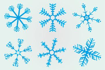 6 Christmas snowflakes
