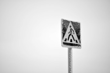 Crosswalk, road sign, snowman, horizontal