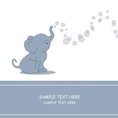 Elefante haciendo ponpas de jabón