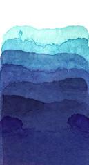Printed roller blinds Fantasy Landscape 水彩による青の抽象画
