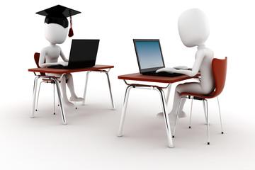 3d man e-learningm isolated on white background