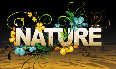 vector nature text illustration