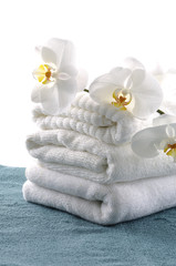 orchid on spa towel