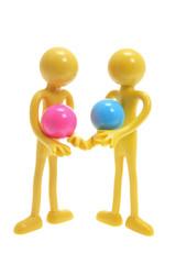 Rubber Figures Holding Balls