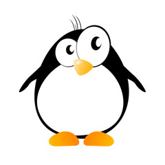 funny penguin with hair vector illustration