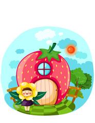 Keuken foto achterwand Magische wereld Littel fairy girl with strawberry house