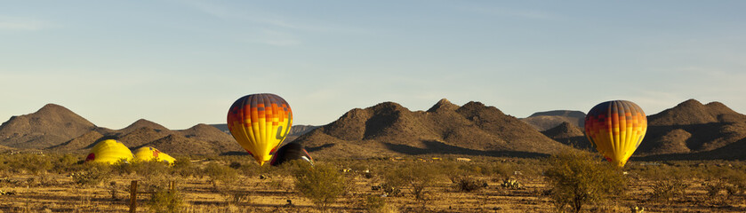Balloons preparing to lift off in Arizona panoramic