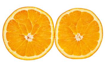 Ripe orange cross-section isolated over white background.
