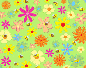 colorful flowers and bees