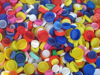 colored plastic caps ready to be recycled