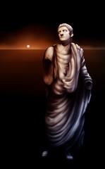 painting of a broken statue of Roman Emperor Caligula
