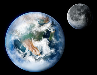 digital painting of the planet Earth and moon