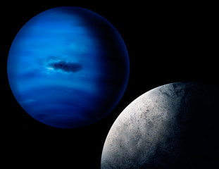 digital painting of the planet Neptune and Triton