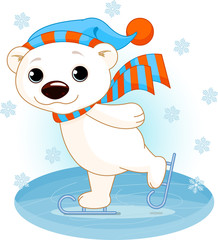 Polar bear on ice skates