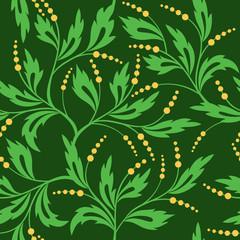 vector dark green seamless floral pattern