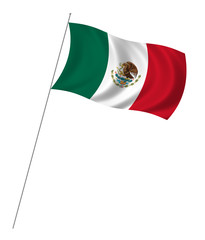 Flag of Mexico waving in the wind on white background