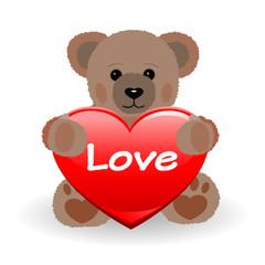 Teddy Bär mit  Love Herz
